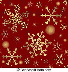 Abstract red seamless  background  with snowflakes (vector)
