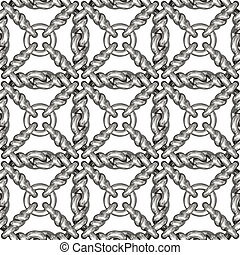 Seamless pattern of silver wire mesh or fence on white...