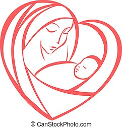 Mother and child enclosed in a heart shape