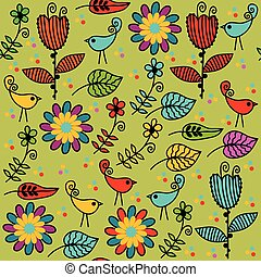 Floral seamless pattern and seamless pattern in swatch menu,...