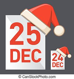 Christmas Day - Vector illustration of a calendar date 24th...