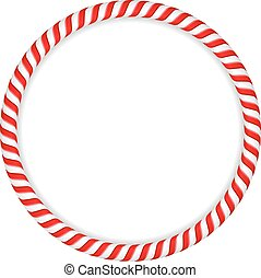 Candy Cane Circle - Round frame made of candy canes, vector...
