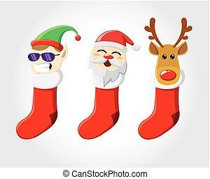 Christmas sox - Three Christmas socks, with Elf, Santa, and...