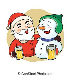 Drunk Santa Claus and snowman - Vector illustration of a...