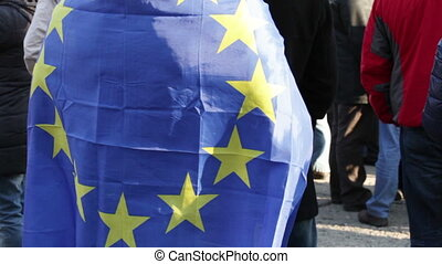 EU flag - Demonstrator in the flag of the European Union