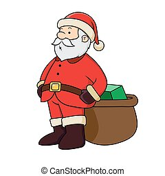 Santa Clause with present - Vector illustration of Santa...
