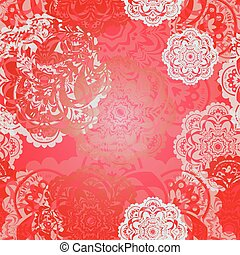 Christmas snowflake pattern. Vector seamless background. REd...