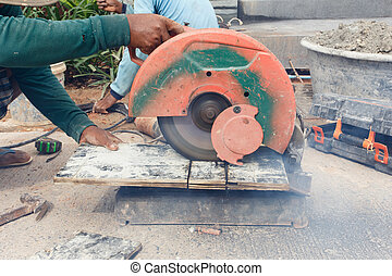 angle grinder cutting wood