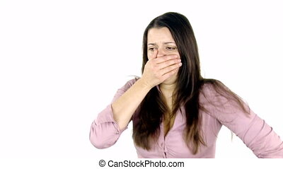 Beautiful woman coughing - Sad sick woman coughing very...