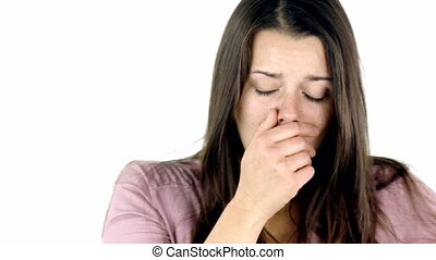 Beautiful woman coughing strong - Unhappy woman with virus...