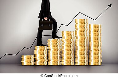 businessman going up through coins stairs over grey