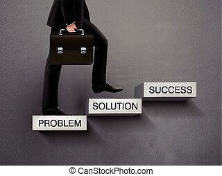 concept of problem solving process with businessman going up...