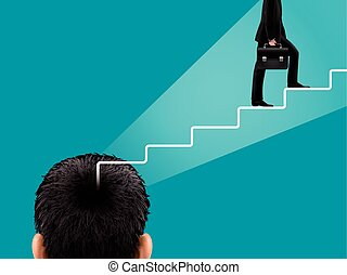 businessman with stairs out of head