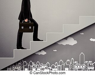 businessman walking on stairs with city scene doodles