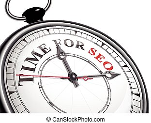 time for SEO concept clock isolated on white background