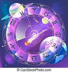 The signs of the zodiac, zodiac circle in space, vector...