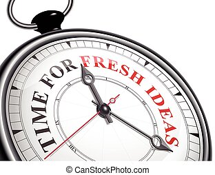 time for fresh ideas concept clock isolated on white...