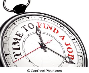 time to find a job concept clock isolated on white...