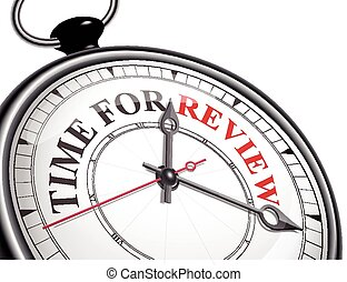 time for review concept clock isolated on white background