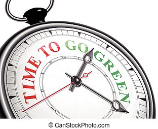 time to go green concept clock isolated on white background