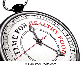 time for healthy food concept clock