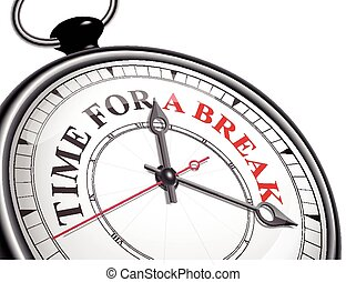 time for a break concept clock isolated on white background