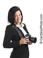 Professional photographer woman holding a dslr camera
