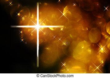 Cross and bokeh - The cross of Christ against golden bokeh...