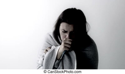Woman sneezing and coughing sick  - Sad sick woman isolated