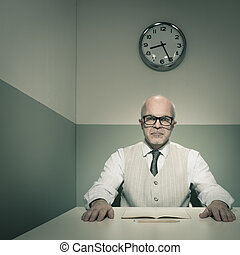 Examining applicants - Senior boss examining applicants...