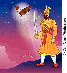 Guru Gobind Singh Jayanti - illustration of Guru Gobind...