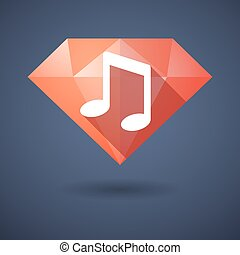 Diamond icon with a note music