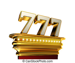 Number 777 over white background