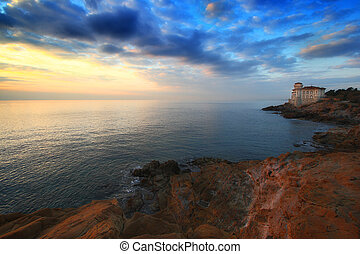 Sunset over the castle - The castle of Boccale in Livoro...