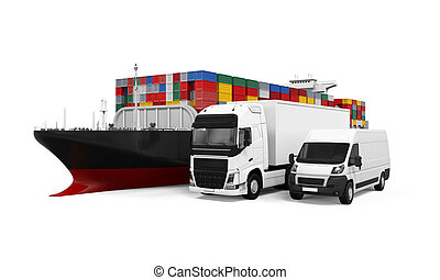 World Wide Cargo Transport Illustration isolated on white...
