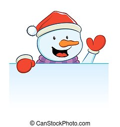 Snowman with blank sign