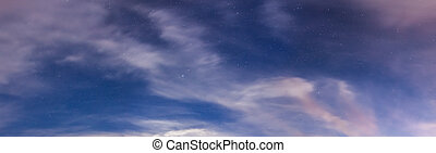 Starry sky and clouds panorama