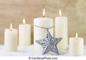 Candle lights. - Candle scene, candles with Christmas decor.