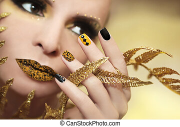 Caviar manicure - Caviar manicure in yellow black nails with...
