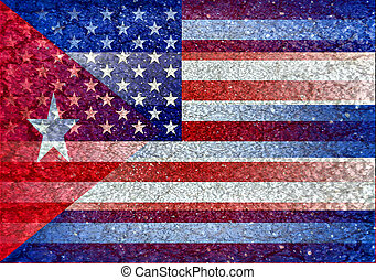 Usa and Cuba Flag Blended