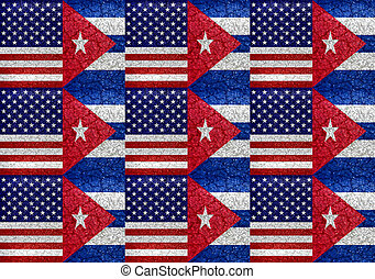 Usa and Cuba Flag United Pattern