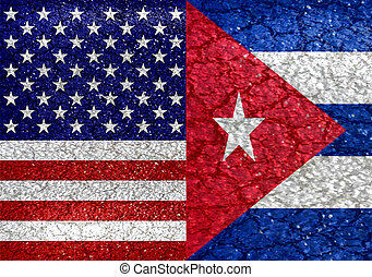 Usa and Cuba Flag United