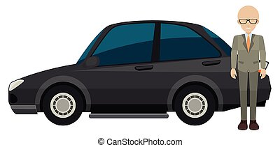 Man and car - Illustration of a man standing next to a car