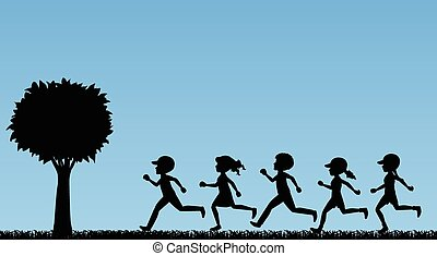 Children running - Illustration of children running in a...