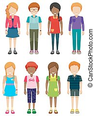 Children - Illustration of many children with no face