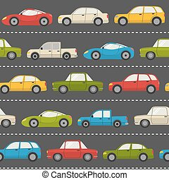 Seamless pattern with cars - Seamless pattern with colorful...