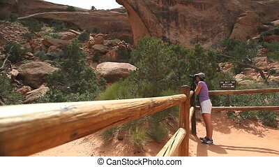 Tourist photographing in Arches NP - Tourist photographing...