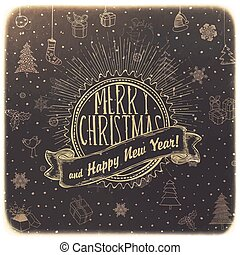 Vintage Merry Christmas Card Design