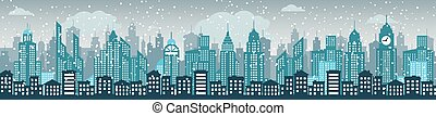 Blue cityscape - Vector illustration of blue simple city...