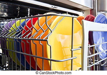 Dishwasher - Dish-washer machine with colorful plate